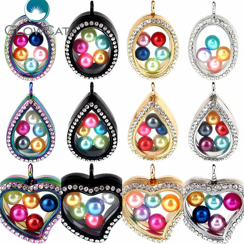 More Choice Four Colors Geometry Magnetic Living Memory Locket for Charms Floating Locket Pendants