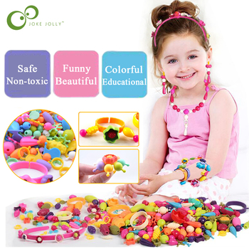 Pop-Arty Beads Snap-Together for Kid Jewelry Fashion Kit DIY Necklace and Bracelet Crafts Birthday Toy Gifts GYH 1