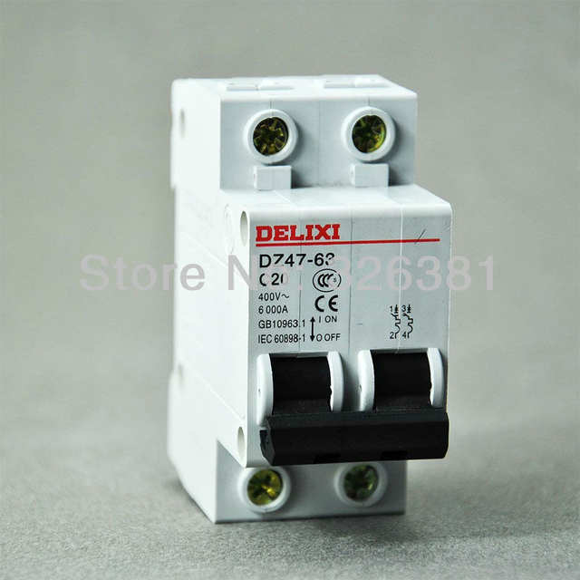 US $11 88 5% OFF|DELIXI Brand DZ47 63 C20 Type 2P AC 400V Circuit Breaker  16A 63A Air switch Lighting Distribution System-in Circuit Breakers from