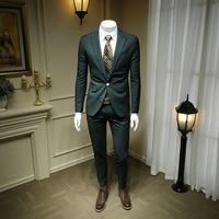 XM GEEKI Fashion Mens Dark Green Suit Jacket Men's Suits British Wedding Dress Suits Male Casual Blazer 2 Pieces 365wt47
