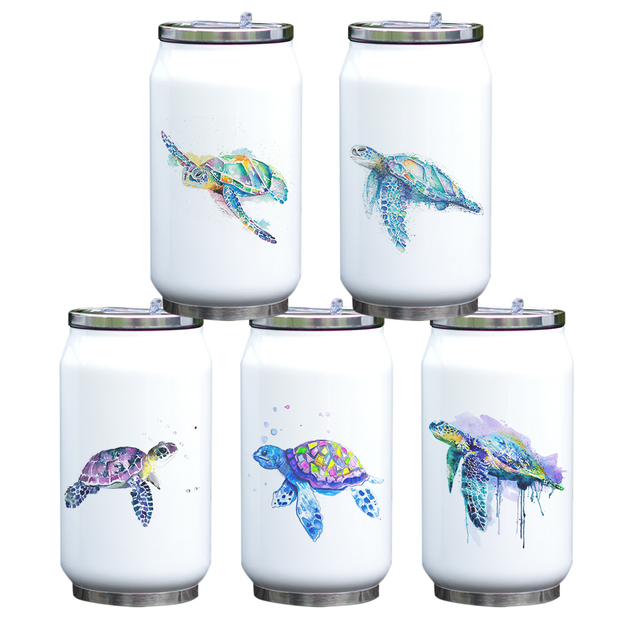 Turtle Print Stainless Steel Portable Water Bottle 6