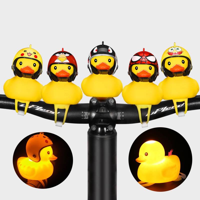 1pcs Cartoon Yellow Silica Gel Little Duck Shape Bicycle Bells Shining Mountain Bike Handlebar Duck Head Light Accessories