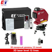Kaitian Self Leveling 3D Laser Level 360 Rotary 635nm 12 Lines Vertical Horizontal With Detector Battery