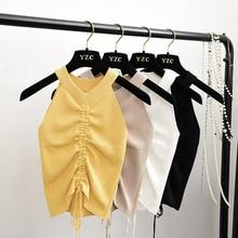 Camisola elástica de punto con cuello de pico para mujer, top corto liso, camiseta sin mangas para mujer