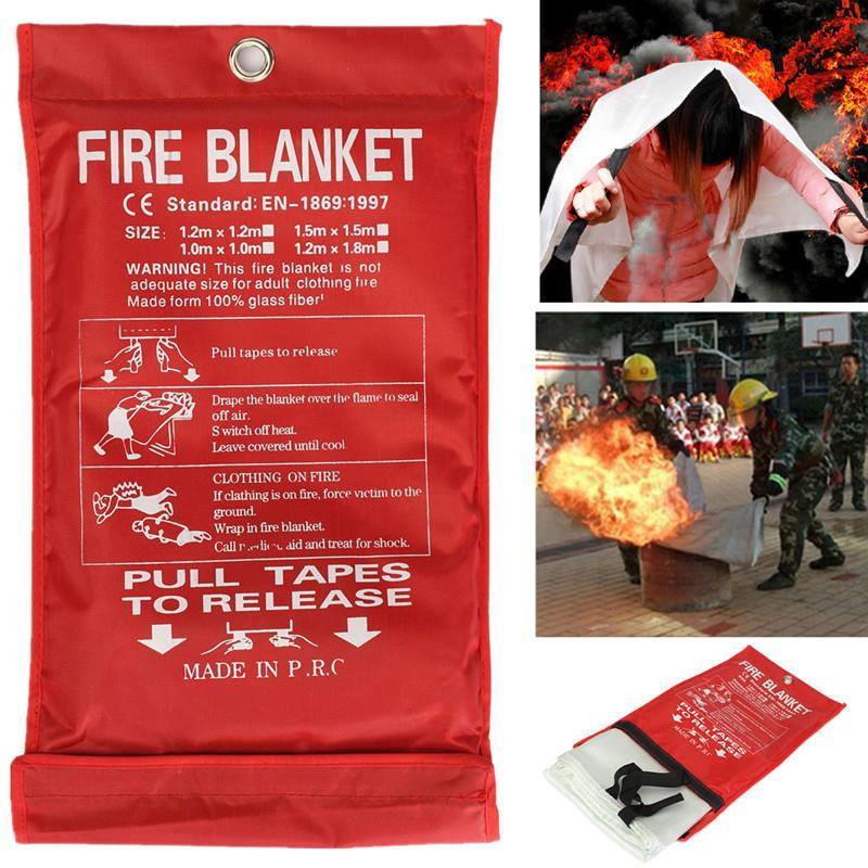Fire Blanket 1x1m Emergency Survival Safety Fires Glass Fiber Clothing 0.45mm PRE  Emergency Survival Fire Shelter FireBlanket