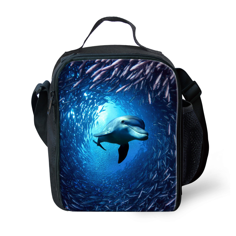 Simple Design Animal Dolphin Shark Printing Shoulder Lunch Bag for Travel Casual Polyester Kids Lunch Box Bolsa Nevera Picnic