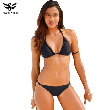 NAKIAEOI 2017 Sexy Handmade Crochet Bikini Women Swimsuit Swimwear Push Up Bikini Set Halter Bathing Suit Summer Beach Wear Swim