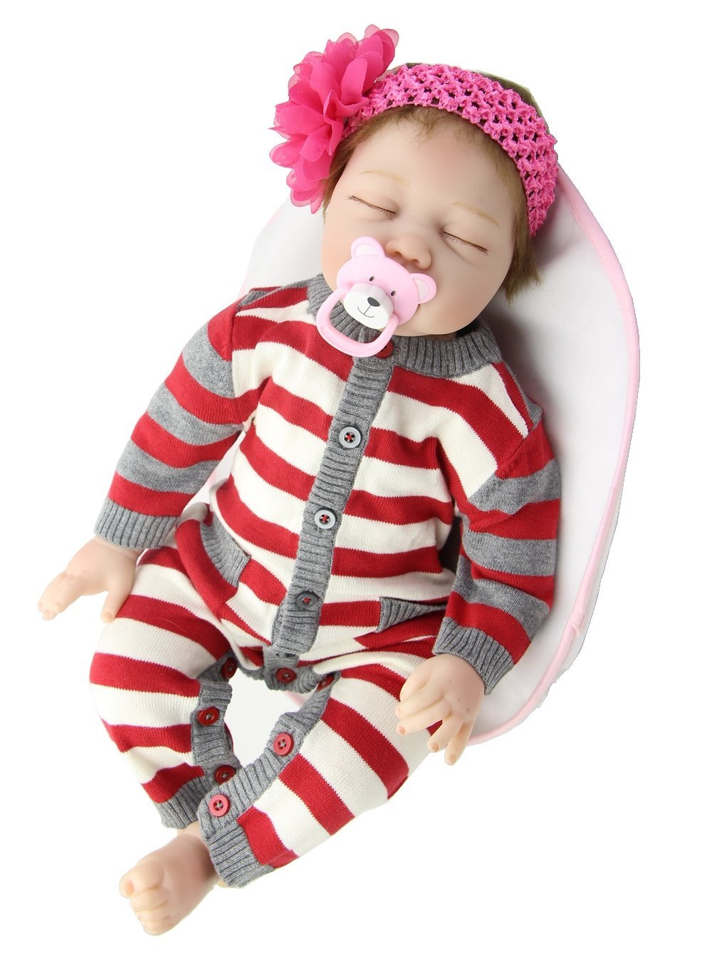 NPK 22 Inch Realistic Sleeping Reborn Baby Dolls Girl Soft Silicone Lifelike Newborn Doll Free Magnet Pacifier Dummy hot sale 2016 npk 22 inch reborn baby doll lovely soft silicone newborn girl dolls as birthday christmas gifts free pacifier
