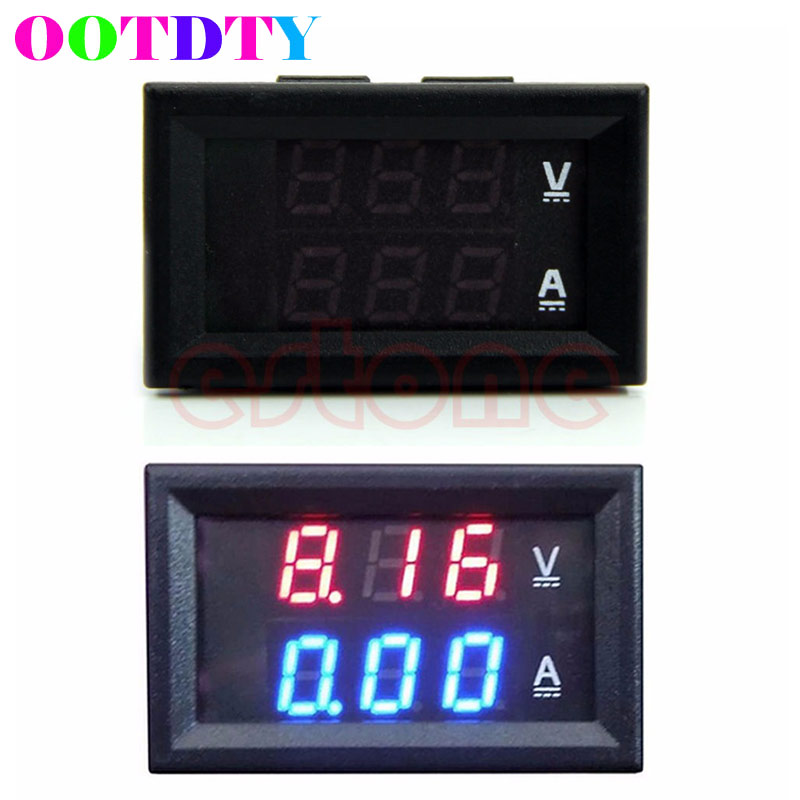 DC 100V 10A Voltmeter Ammeter Red LED Amp Dual Digital Volt Meter Gauge Analog Volt Ammeter 0.28 Blue Red Dual Display dc 100a analog ammeter panel amp current meter 85c1 gauge 0 100a dc shunt