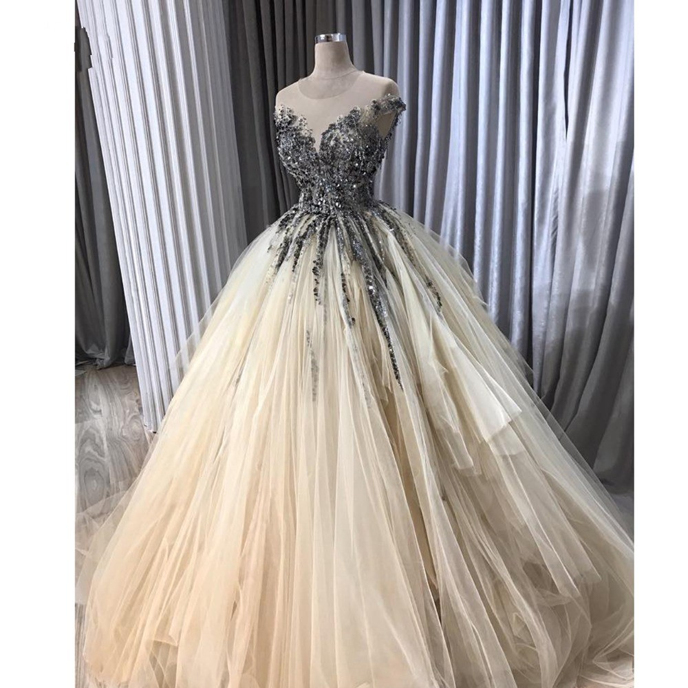 Luxury Arabic Evening Dresses Beaded Aibye Long Formal Prom Dress Crystals Robe De Soiree Turkish Party Gowns Vestido De Festa