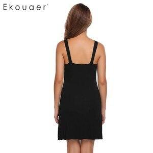 Image 5 - Ekouaer ファッションスリムナイトウェア女性スパゲッティストラップノースリーブソリッド Nighties パジャマ夏カジュアル弓パジャマ