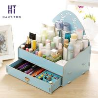 Wooden Desk Box Cosmetics Makeup Organizer Jewelry Storage Box Office Home Storage Organization