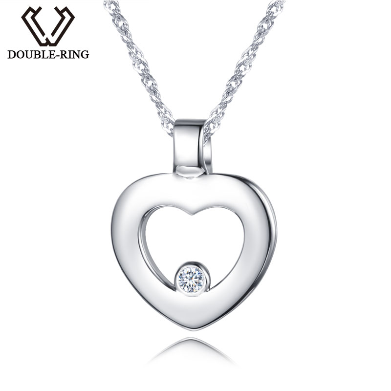 DOUBLE-R Women 0.03ct Diamond Heart Pendants Female 925 Sterling Silver Necklaces Romantic Gift Genuine Jewelry CAP03745SA-1 double r women necklace pendants 0 03ct diamond 925 sterling silver pendants with long chains diamond jewelry cap03755sa 1