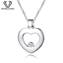 DOUBLE-R  Women 0.03ct Diamond Heart Pendants Female 925 Sterling Silver Necklaces Romantic Gift Genuine Jewelry CAP03745SA-1