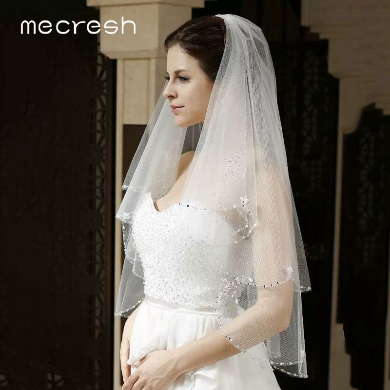Image 2 - Mecresh Floral Lace Bridal Wedding Veils Women Accessories One Layer White Ivory Tulle Mariage Elbow Length Veil for Bride TS004Bridal Veils   -