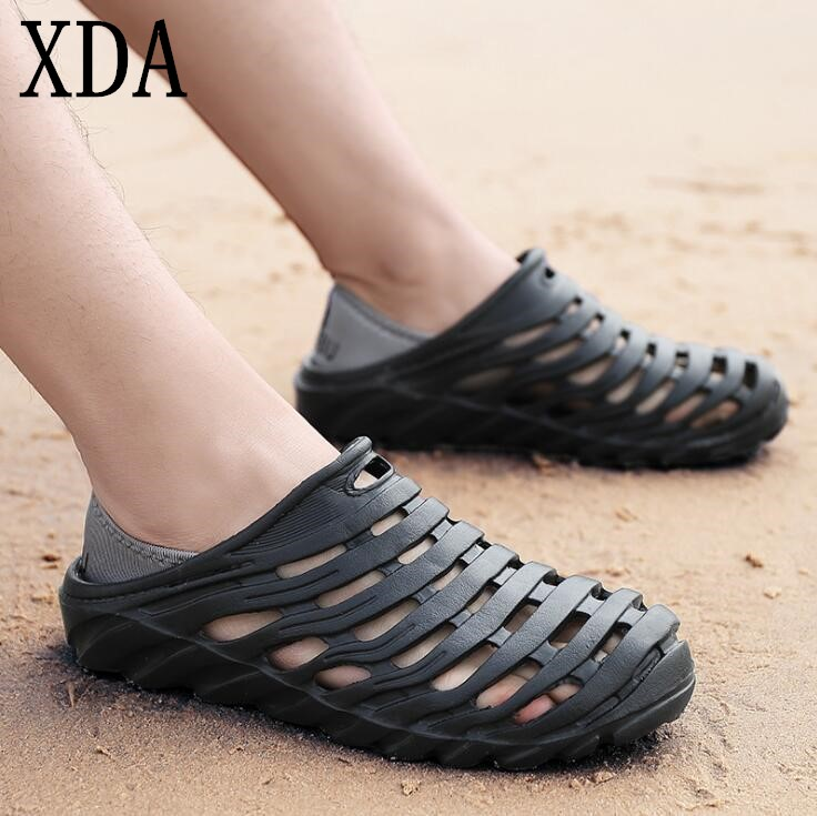 XDA Summer Men Fashion Flats Hollow Out Beach Breathable Sandals light Casual Shoes Soft EVA Injection Comfortable sandals F272