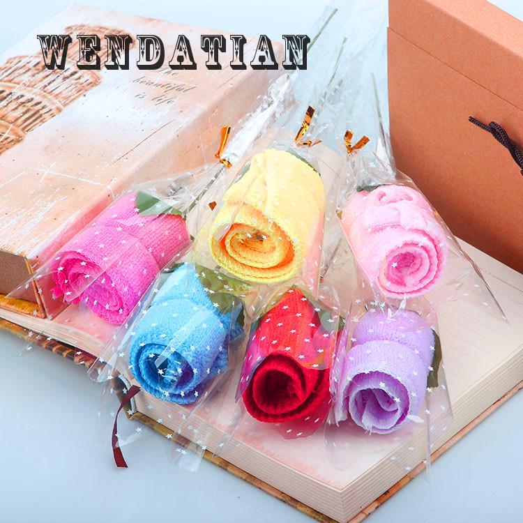 20*20 Cm Thuis Textiel Candy Kleur Rose Modeling Fiber Kleine Cake Handdoek Voor Event Party Gunsten 30 Stk/partij