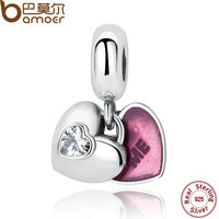 BAMOER 925 Sterling Silver You Me Two Part Clear CZ Fuchsia Enamel Charms For Female Bracelets