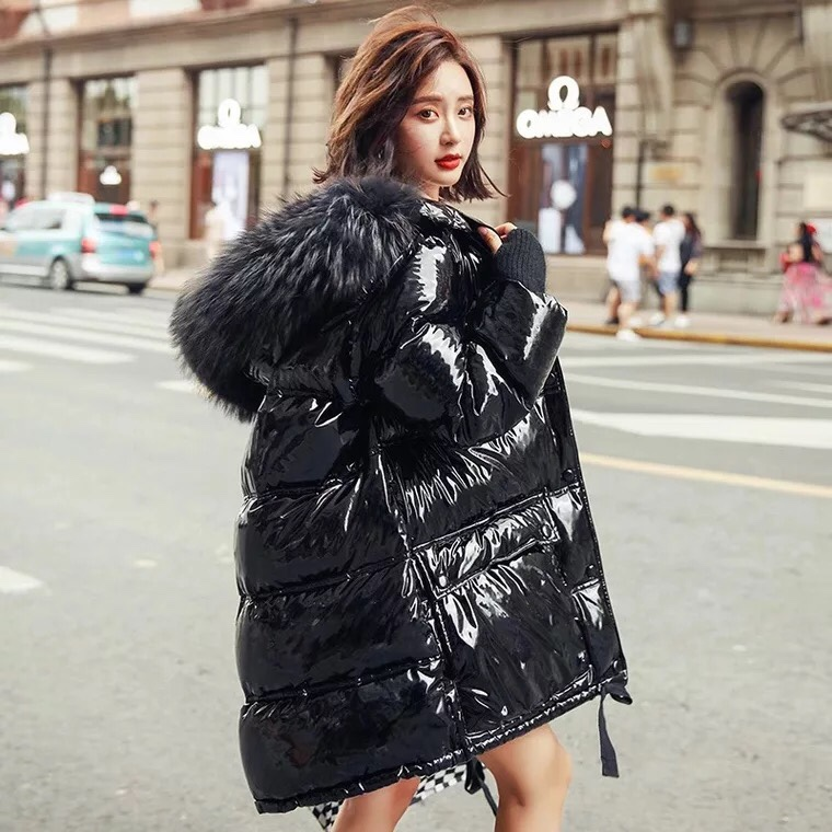 Patent Leather Glossy Winter White Duck Down Jacket Women Large Real Raccoon Fur Collar Hooded Long Parka 2019 Women Down Coats