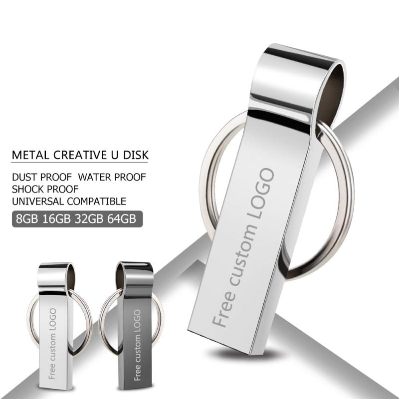 usb flash drive 2.0 silver Metal pendrive 128GB 64GB 32GB 16GB 8GB 4GB memoria flash pendrive memory usb bracelet key Free LOGO-in USB Flash Drives from Computer & Office