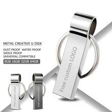 Usb флеш-накопитель 2,0 серебристого металла флэш-накопитель 128 Гб 64 ГБ 32 ГБ оперативной памяти, 16 Гб встроенной памяти, 8 GB 4 GB карты памяти флэш-накопитель карта памяти Флешка usb в виде браслета Блокировка клавиш Бесплатная логотип