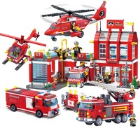 11.11 NEW City Police Fire Station Truck Spray Water Gun Firemen Car Building Blocks Sets Bricks Kids Toys Boys Legoings