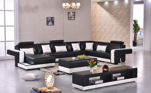2018 Real Muebles De Sala Rushed Sectional Sofa Design U Shape 7 Seater Lounge Couch