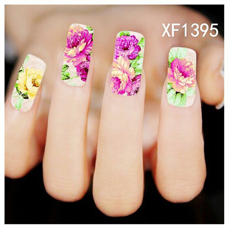 5PCS Water Nail Art Stickers Pink Red Rose Flowers Nail Design Stickers  Manicure Tools Cover Nail Decoration Water Decals-in Stickers & Decals from  Beauty ... - 5PCS Water Nail Art Stickers Pink Red Rose Flowers Nail Design