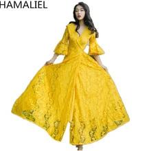 Hamaliel amarillo Encaje partido largo Boho vestido 2018 verano mujeres  Flare manga Hollow out sexy V 09d6ea8db1ef