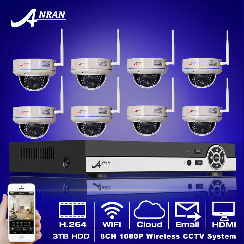 3TB HDD 8CH H 264 NVR Wireless CCTV System Onvif 1080P HD Vandalproof Dome WIFI IP