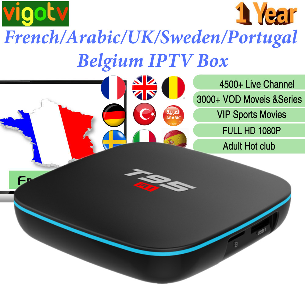 T95 R Android 7 1 Smart IPTV Box 1 Year Vigotv 4500 Live Europe French Italy