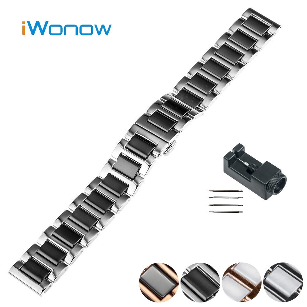 Ceramic Watch Band 18mm for Asus Zenwatch 2 Women WI502Q Butterfly Buckle Strap Wrist Belt Bracelet Black + Spring Bar + Tool genuine leather watch band 18mm 20mm 22mm for breitling stainless butterfly buckle strap wrist belt bracelet spring bar tool