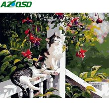 AZQSD Frameless Abstract Cat Animals DIY Painting By Numbers Hand Painted Oil Painting For Wall Art Picture Home Decoration(China)