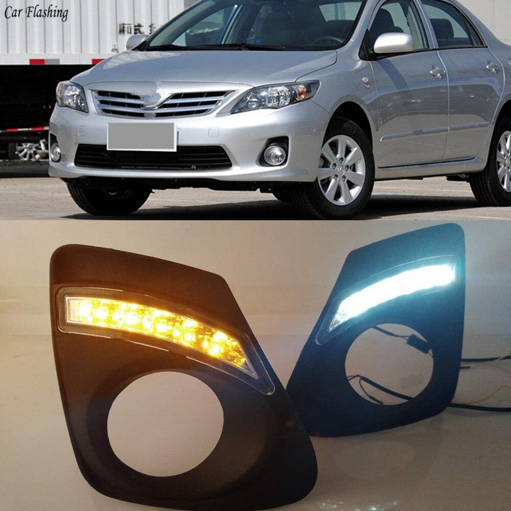 Pair DRL Daytime Running Driving Fog Light  For Toyota Corolla  2011-2013