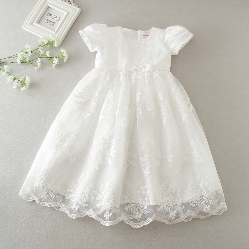 2018 Summer Baby Girl Christening Gown Newborn Baptism Dress 1st Birthday Party Dress Long Style Lace Dress for Wedding