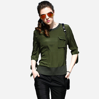 High Quality 100 Silk Blouse Women Lightweight Fabric Solid O Neck Ties Half Sleeves Casual Tops