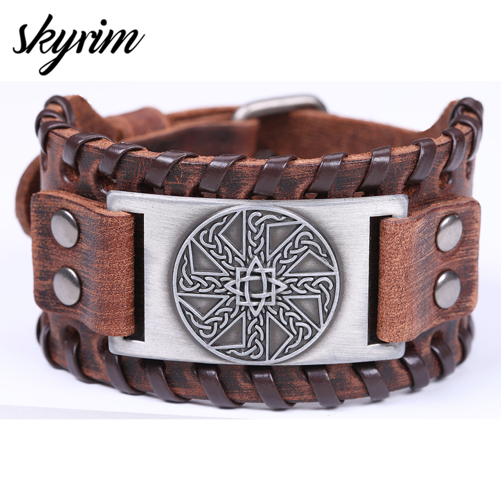 Skyrim Slavic Leather Bracelet for Men Star Anise Closed Round Charm Amulet Wide Braid Bracelet Viking Bangle Vintage Jewelry Браслет