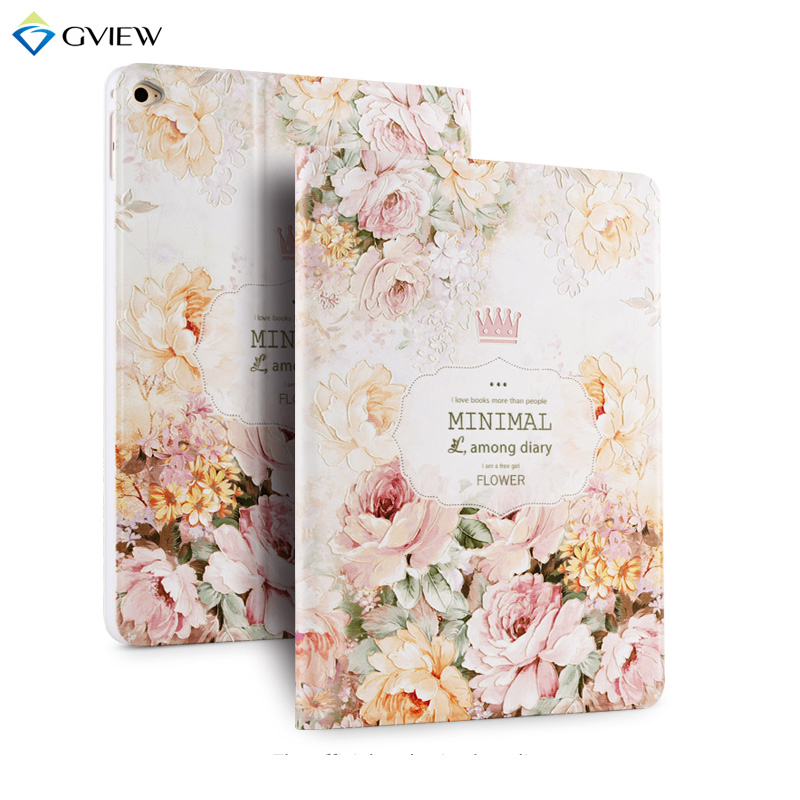 Gview 3D Embossing Case For Ipad Air 2 PU Leather Smart Case for iPad Air 2