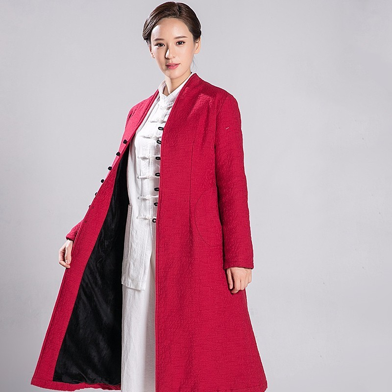 2018 New Wome Autumn And Winter Tai Chi Overcoat Thick Robe Jacquard Weave Linen Cotton Windbreaker