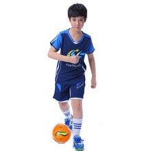 2017 D'été Garçon Sport Costume Enfants Football Vêtements Ensemble V-cou À Manches Courtes Entraînement Sportif Vêtements Garçons Jersey Équipe Vêtements