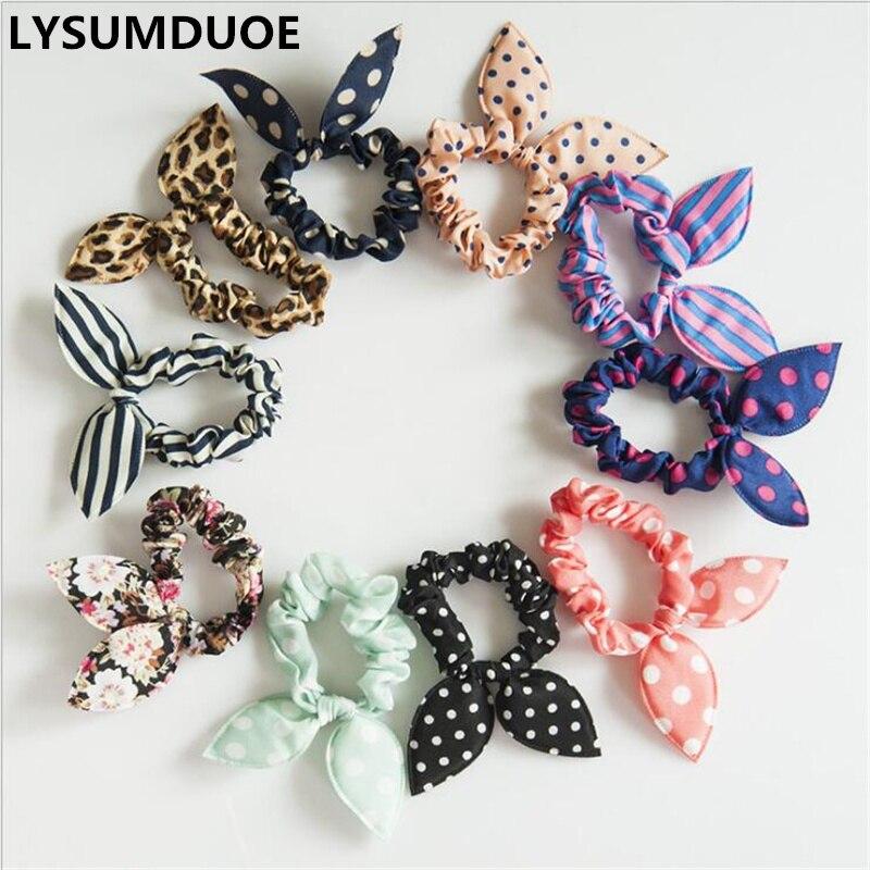 20Pcs Korean Fashion Elastic Hair Bands Girls Hair Accessories Bunny Rabbit Ears Scrunchy Rubber Band Candy Color Cute Headdress