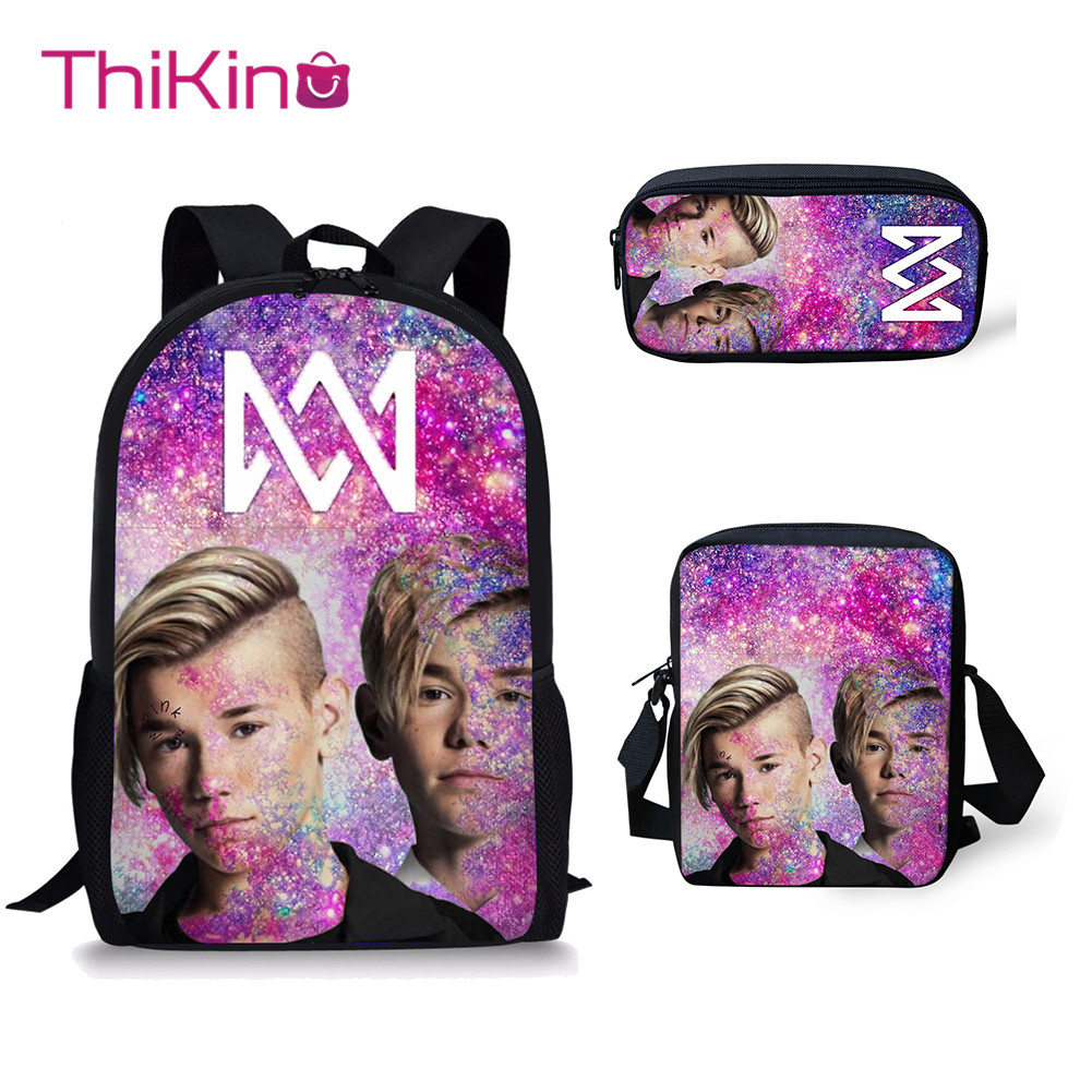 Thikin Marcus And Martinus School Bag 3PCS Set For Girls Teenagers  Primary Lunch Pen Bags Backpack Kids Book Bags Travelbag