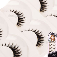 5Pairs Handmade Natural Long Thick False Eyelashes Eye Lashes Make Up Extension