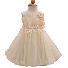 0 3 Months Baby Girl Dresses Formal Ruffle Voile Pearl Dress Party Girl Fashion Flower Gown Princess Infant Summer Toddler Dress(China)
