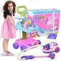 Brinquedo do bebê vácuo de poder carro cleaner ferramenta de limpeza set brinquedos de cozinha para crianças