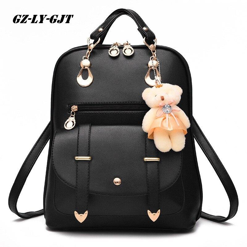 GZ-LY-gjt медведь рюкзак женский Школьные ранцы для Обувь для девочек Рюкзаки для Для женщин сумка Сумки на плечо мешок основной кожа PU Рюкзак