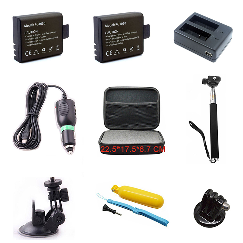 For EKEN Accessories Set Dual Charger 1050mAh Li-ion Battery Car Charger Bracket Monopod Storage Box For H9 H9R Action Camera