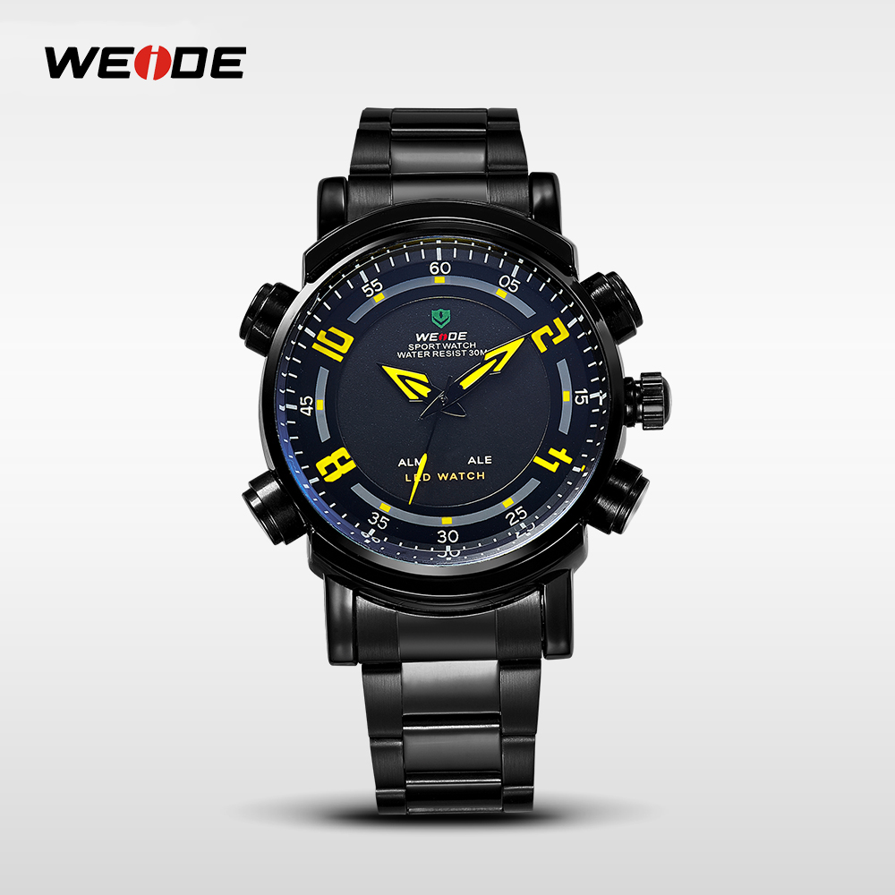 WEIDE Brand Men Waterproof Digital-Watch Man Quartz Watches Luxury Military Casual Red Relogio Masculino Sport LED Clock WH1101 weide casual luxury genuin new watch men quartz digital date alarm waterproof clock relojes double display multiple time zone