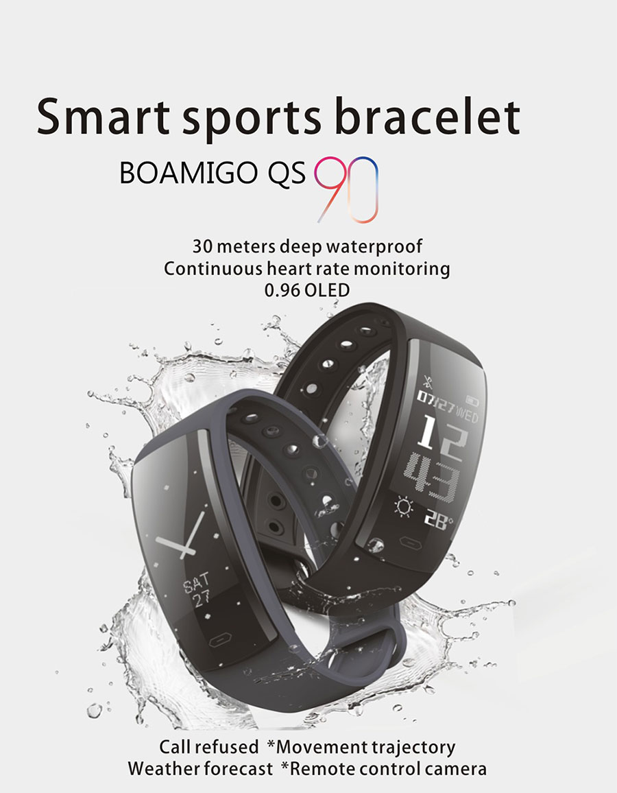 BOAMIGO Smart Watches Bluetooth Smart Bracelet Wristband Pedometer Calories Heart Rate Message Reminder For IOS Android Phone
