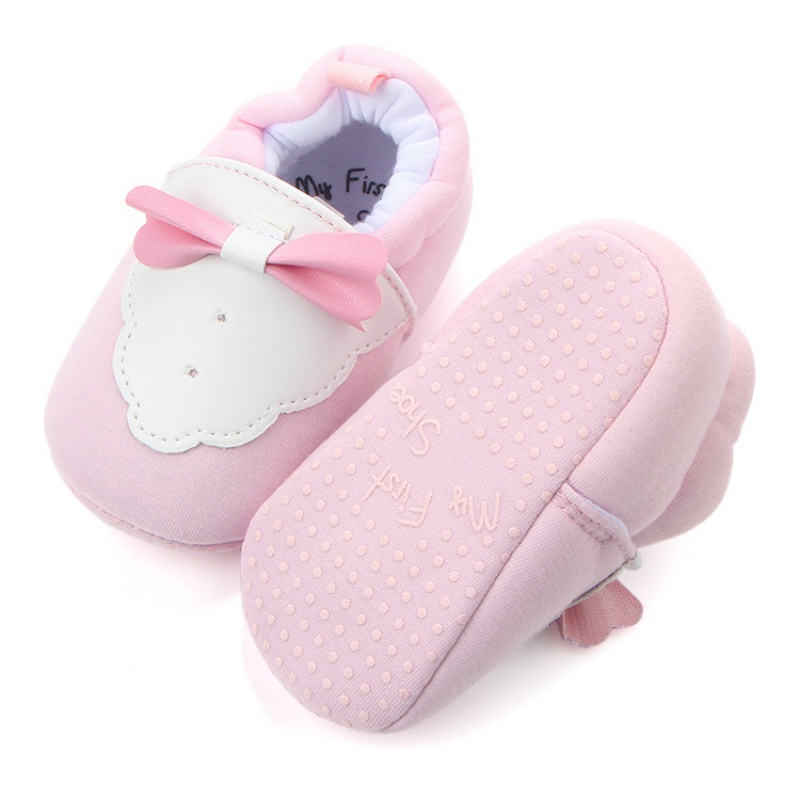 Spring Autumn Gentleman Infant Newborn Kids Soft Soled Shoes Baby Boys Girls First Walkers Butterfly-knot Cotton Baby Shoes